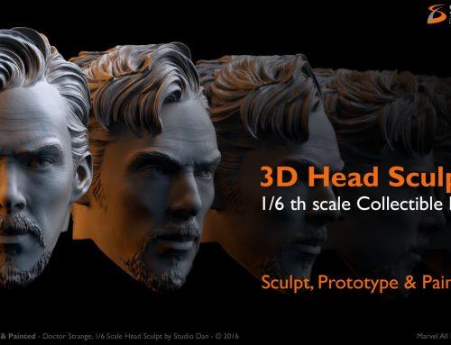 3D Head Sculpt 1/6 scale